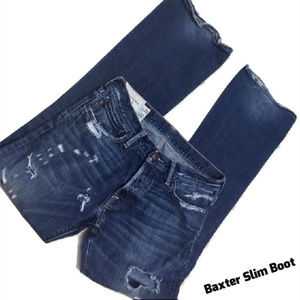 Destroyed Button Fly Jeans Slim Boot Cut 31x32